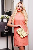 Летнее льняное платье Синди персик 42-50 размеры