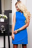 Льняное летнее короткое платье Синди электрик 42-44 размеры