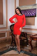 Женское платье с рукавами из шифона. Красное, 2 цвета.