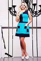 Летнее короткое платье Шахматка голубое 42-50 размеры