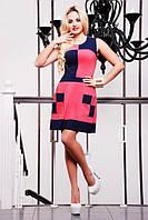 Летнее короткое платье Шахматка коралловое 42-50 размеры