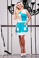 Короткое летнее голубое платье Шахматка 42-50 размеры