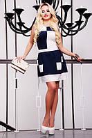Короткое летнее платье Шахматка темно-синее 42-50 размеры