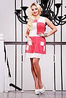Короткое летнее платье Шахматка коралловое 42-50 размеры