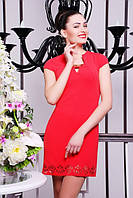 Короткое коралловое женское платье Бетти  42-50 размеры