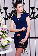 Короткое темно-синее женское платье Бетти  42-50 размеры