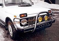 Защита переднего бампера кенгурятник крашенный (c защитой картера и защитой фар) D60 на Lada Niva 2121-21214