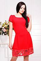 Нарядное красное платье с перфорацией Диана 42-50 размеры