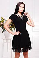 Нарядное черное платье с перфорацией Диана 42-50 размеры
