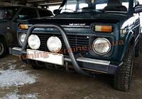 Защита переднего бампера кенгурятник крашенный (с защитой картера) D60 на  Lada Niva 2121-21214