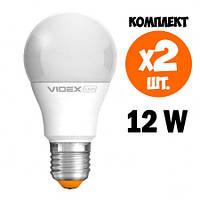 Комплект 2 шт. LED ламп VIDEX A60e 12W E27 3000K 220V, фото 1
