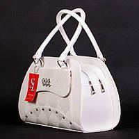 Белая деловая сумка элегантная дамская матовая