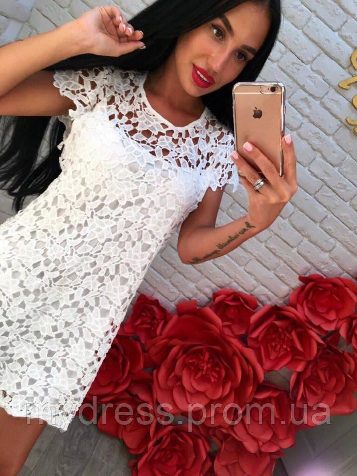 Нежное кружевное платье-туника 1053