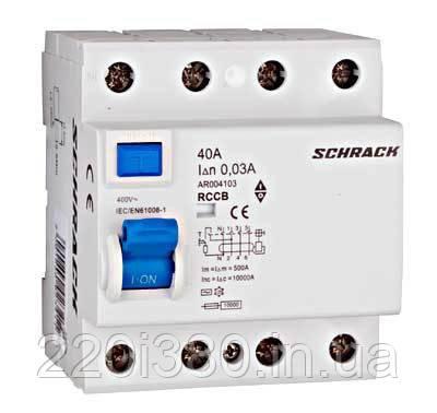 Устройство защитного отключения 10кА/30мА 4P 40А тип AC Schrack