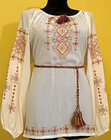 """Вишиванка жіноча  """"Талісман"""" на кремовому шифоні кольорова нитка, блуза, машинна вишивка"""