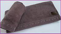 Махровое полотенце 70х140 с кружевом Arya Stone Wash сухая роза