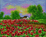 Схема для вышивки бисером Деревенский пейзаж с маками КМР 4069
