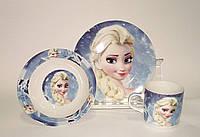 Детский набор посуды из керамики Холодное сердце Эльза, 3 предмета