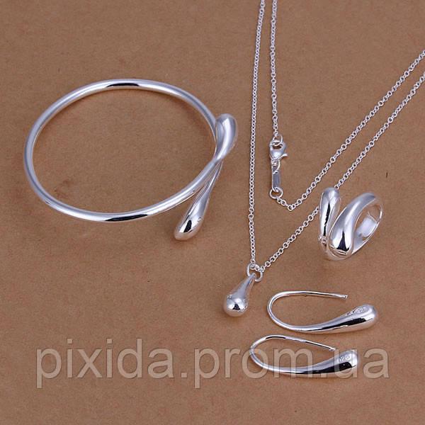 Набор Капельки 925 серебро проба (5 предметов) подвеска