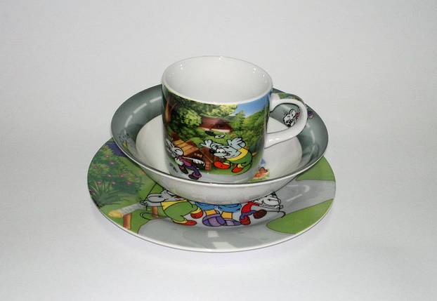 Детский набор посуды из керамики Леопольд, 3 предмета, фото 2