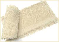 Махровое полотенце 70х140 с бахромой Arya Damask Ayca бежевое