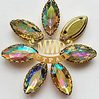 Лодочки в  ажурной золотой  оправе  Размер 7х15мм  Crystal AB