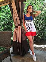 Жіноче плаття (Платье в стиле Maschino красный+синий)