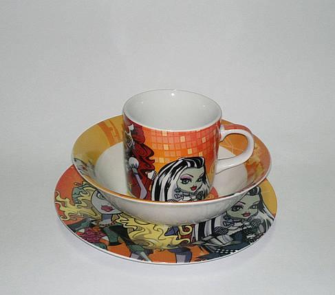 Детский набор посуды из керамики Монстр Хай, 3 предмета, фото 2