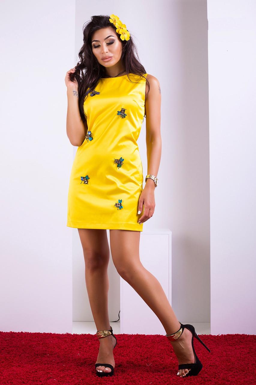35c049ead96fd64 Яркое Желтое Платье с Объемным Декором Пчелки XS-М - Ukraine In Trend - 100