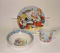 Детский набор посуды из керамики Малыш и карлсон, 3 предмета