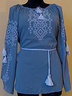"""Вишиванка жіноча  """"Талісман"""" на сірому шифоні, блуза, машинна вишивка"""