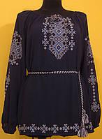 """Вишиванка жіноча  """"Талісман"""" на чорному шифоні, блуза, машинна вишивка"""