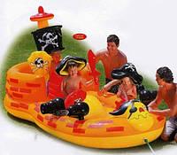 Детский надувной бассейн с горкой Пиратский Корабль