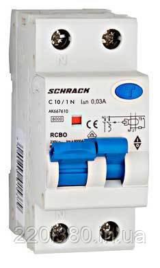 Диф. автомат. выключатель 6кА/30мА 1P+N 16A х-ка C Тип A Schrack
