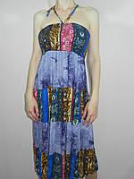 Легкий сарафан женский длинный синий размер М-XL