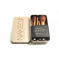 Набор кистей для макияжа  naked 3 12 штук gold (в металлическом футляре),кисточки для макияжа