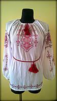 """Вишиванка жіноча  """"Талісман"""" на білому шифоні, блуза вишита в червоних тонах, машинна вишивка"""