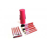 Набор кистей для макияжа в тубусе 12 штук Розовые,профессиональные кисти