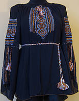 """Вишиванка жіноча  """"Вишита доля"""" на чорному шифоні, блуза вишита в біло коричневих тонах, машинна вишивка"""