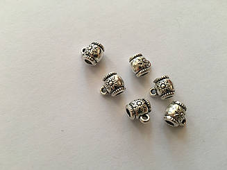 Фурнітура для браслетів металеві. Колір античне срібло. 8,3 мм