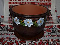 Рисованный цветочный горшок с подставкой 5 литров