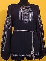 """Вишиванка жіноча  """"Вишита доля"""" на чорному шифоні, блуза вишита в біло голубих тонах, машинна вишивка, фото 1"""