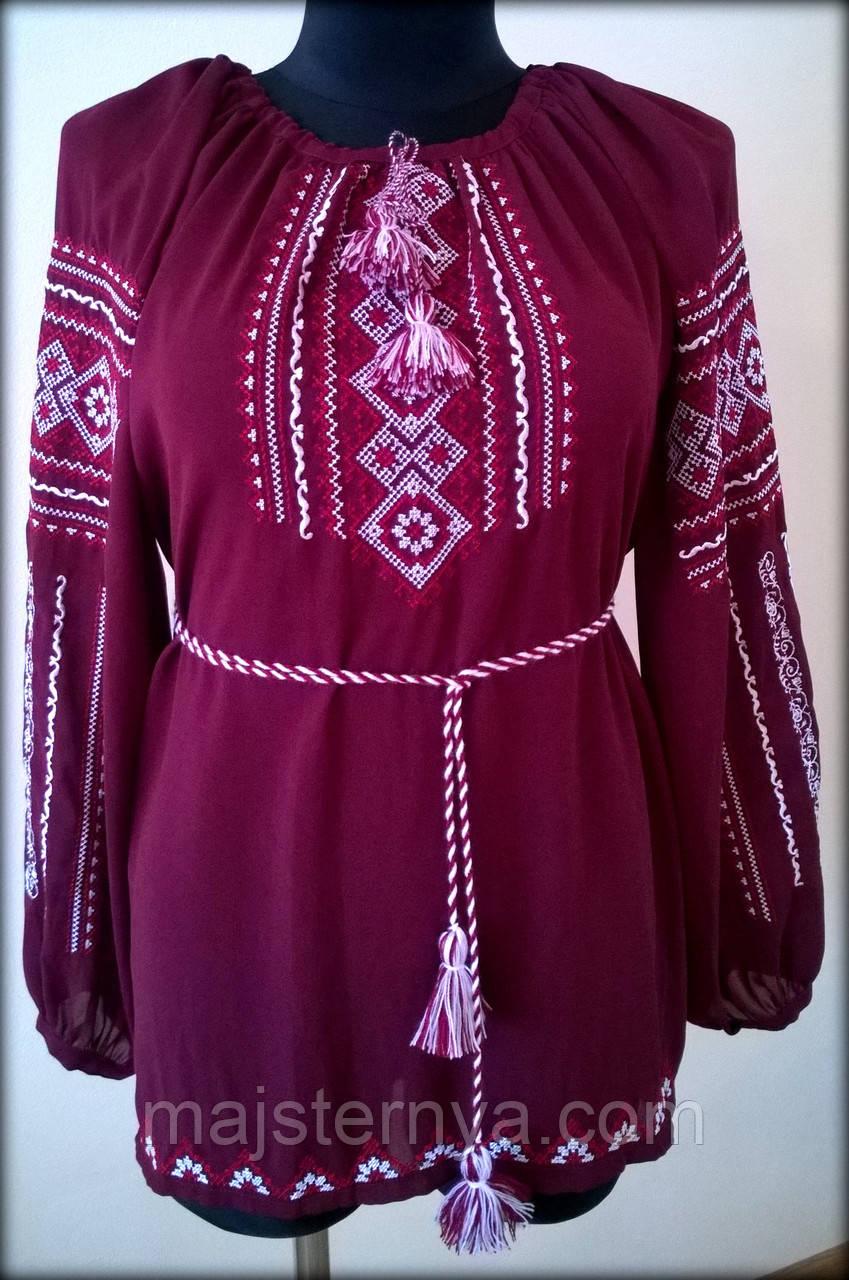 """Вишиванка жіноча  """"Вишита доля"""" на бордовому шифоні, блуза вишита білими та червоними нитками, машинна вишивка"""