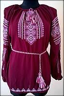 """Вишиванка жіноча  """"Вишита доля"""" на бордовому шифоні, блуза вишита білими та розовими нитками, машинна вишивка"""