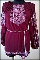 """Вишиванка жіноча  """"Ілюзія"""" на бордовому шифоні, блуза вишита білими та розовими нитками, машинна вишивка"""