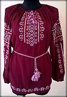 """Вишиванка жіноча  """"Ілюзія"""" на бордовому шифоні, блуза вишита білими та червоними нитками, машинна вишивка"""
