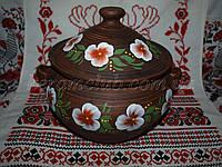 Супник с рисунком из красной глины 3л