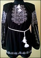 """Вишиванка жіноча  """"Ілюзія"""" на чорному шифоні, блуза вишита білими нитками, машинна вишивка"""