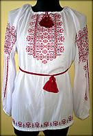 """Вишиванка жіноча  """"Ілюзія"""" на білому шифоні, блуза вишита червоними та бордовими нитками, машинна вишивка"""