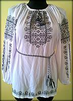 """Вишиванка жіноча  """"Ілюзія"""" на білому шифоні, блуза вишита чорними нитками, машинна вишивка"""
